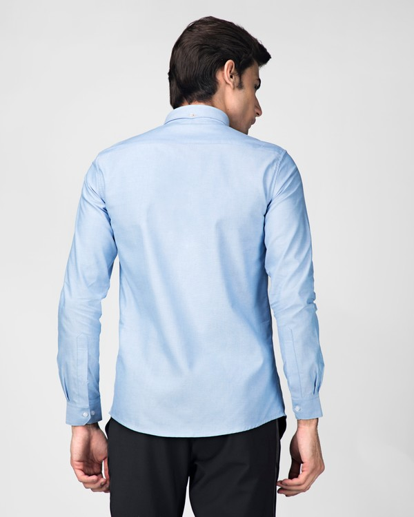 Sky blue oxford embroidered shirt 3