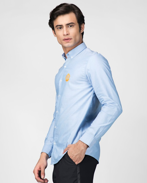 Sky blue oxford embroidered shirt 2