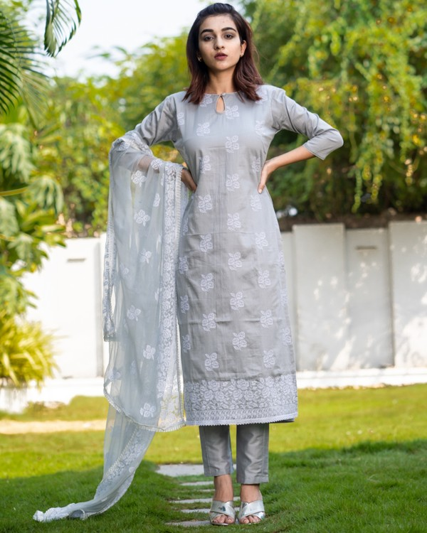 Light grey cross stitch embroidered kurta set with dupatta- set of three 3