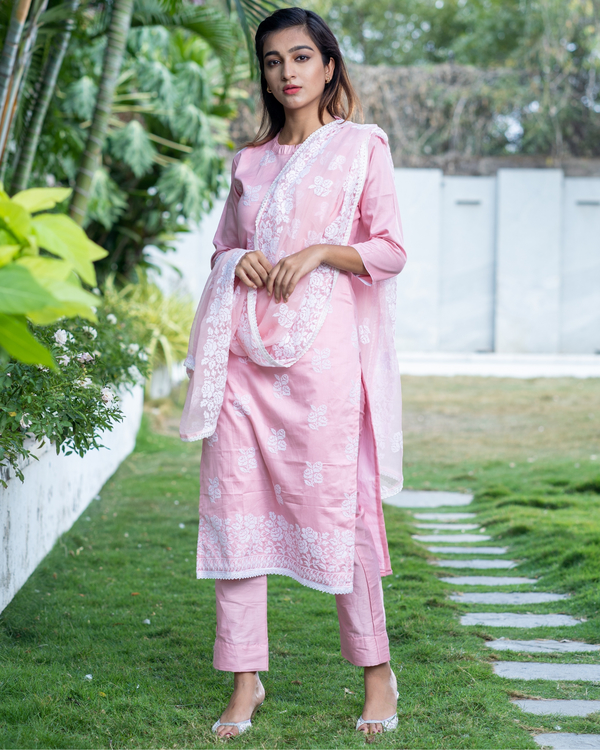 Pink cross stitch embroidered kurta set with dupatta- set of three 2