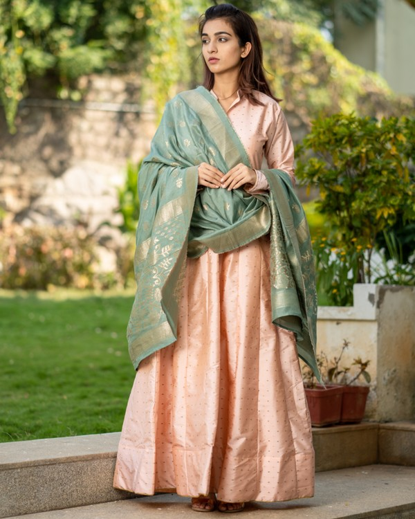 Pastel peach paneled dress with banarasi dupatta- set of two 3
