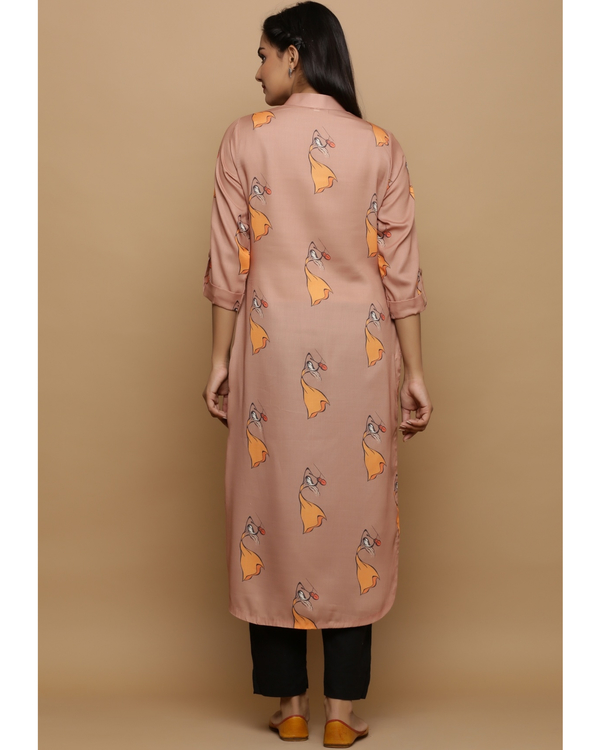 Beige printed high low kurta 3