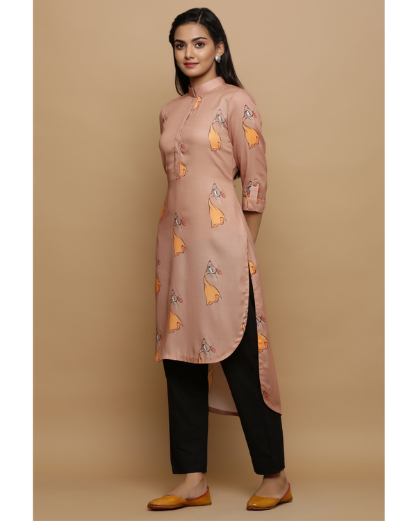 Beige printed high low kurta 2