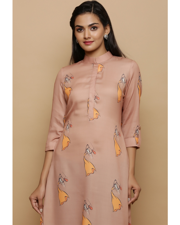 Beige printed high low kurta 1