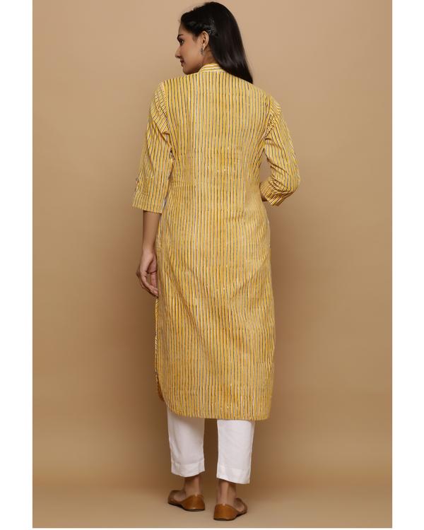Yellow striped cotton kurta 3
