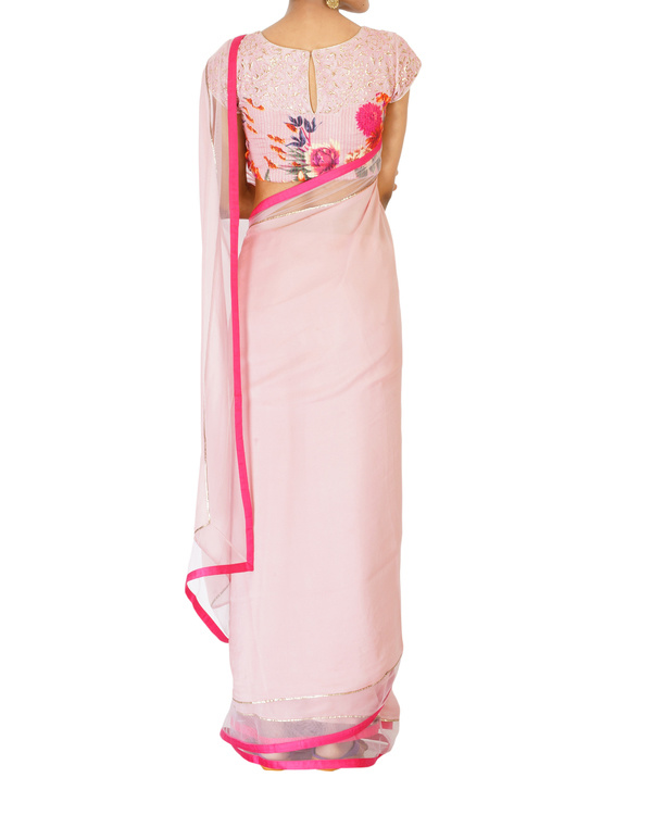 Soft blush pink sari with printed blouse 3