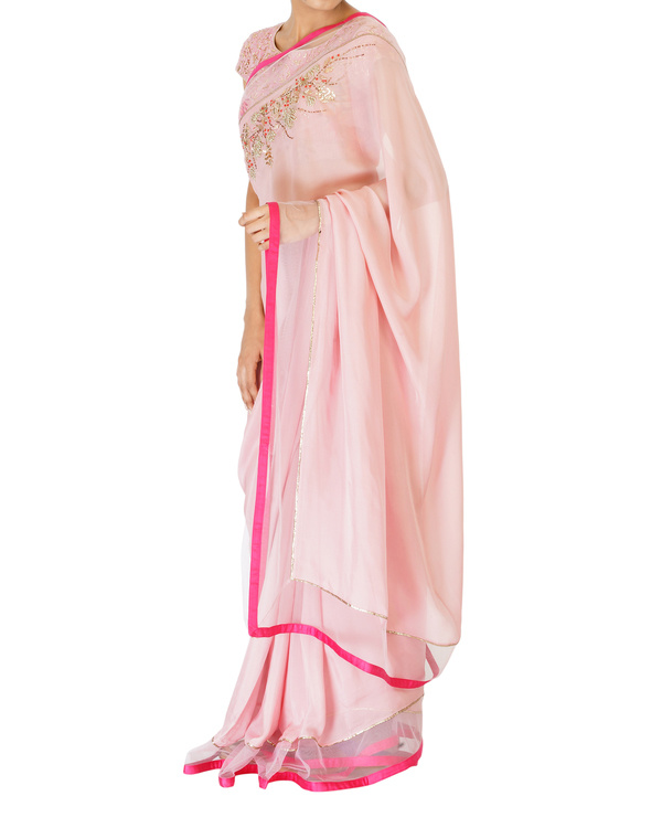 Soft blush pink sari with printed blouse 4