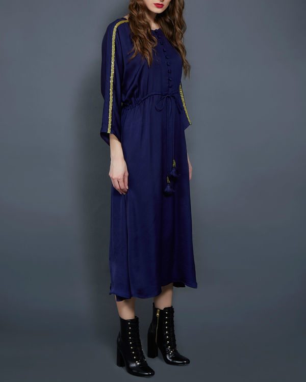 Navy blue tunic with kimono sleeves 1
