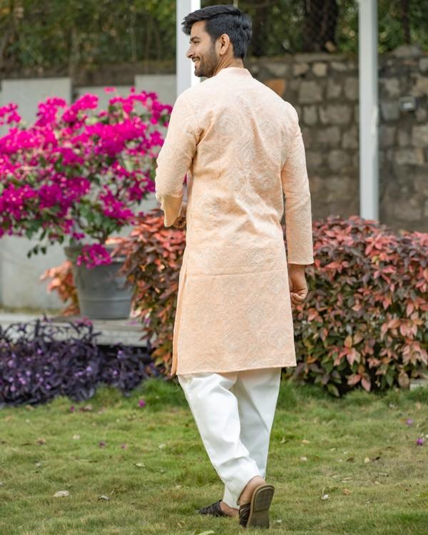 Peach chikankari kurta and off white pyjama set- set of two 3
