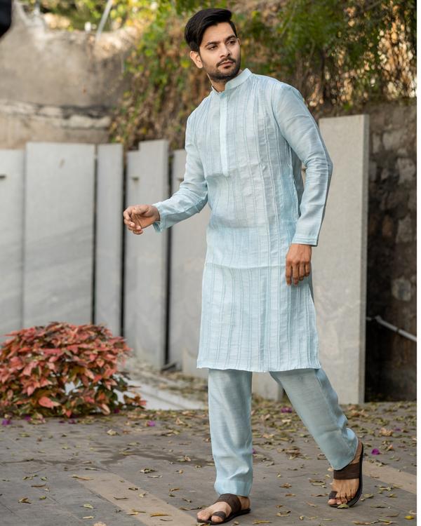 Powder blue pin tuck kurta and pyjama set - set of two 2