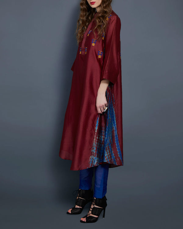 Wine tunic with embroidered front and back 1