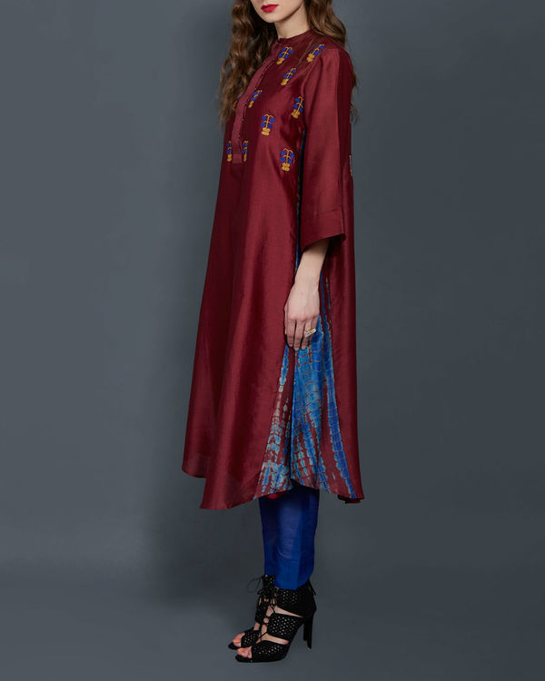 Wine tunic with embroidered front and back 2