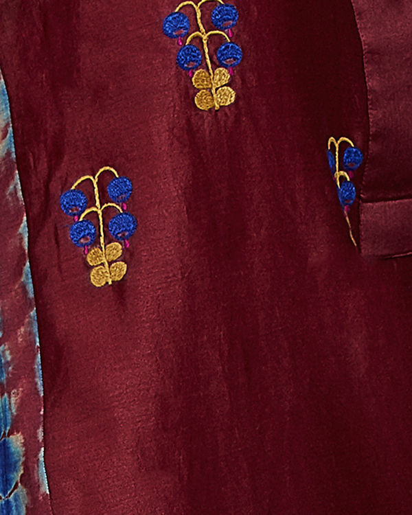 Wine tunic with embroidered front and back 4