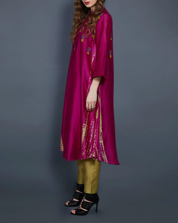Pink tunic with embroidered front and back 1
