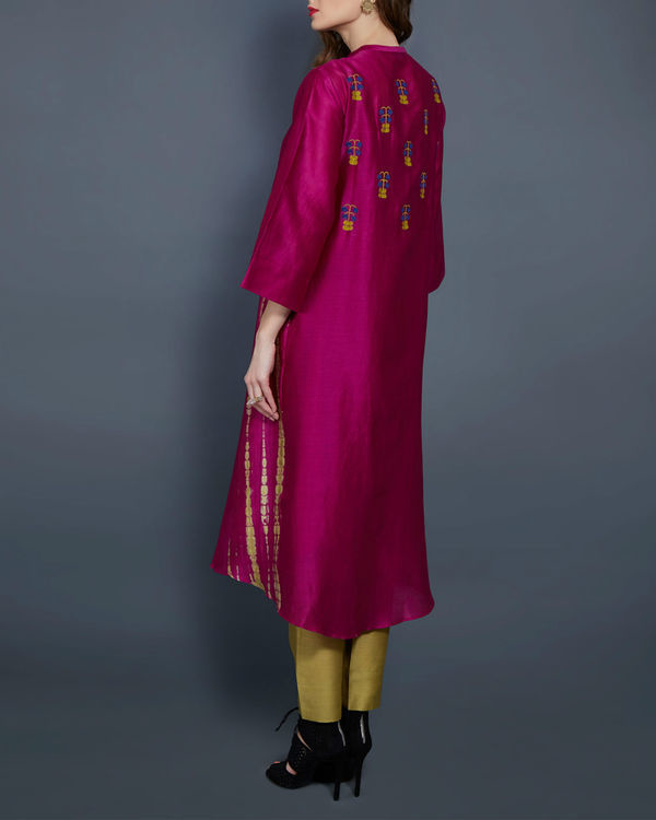 Pink tunic with embroidered front and back 2