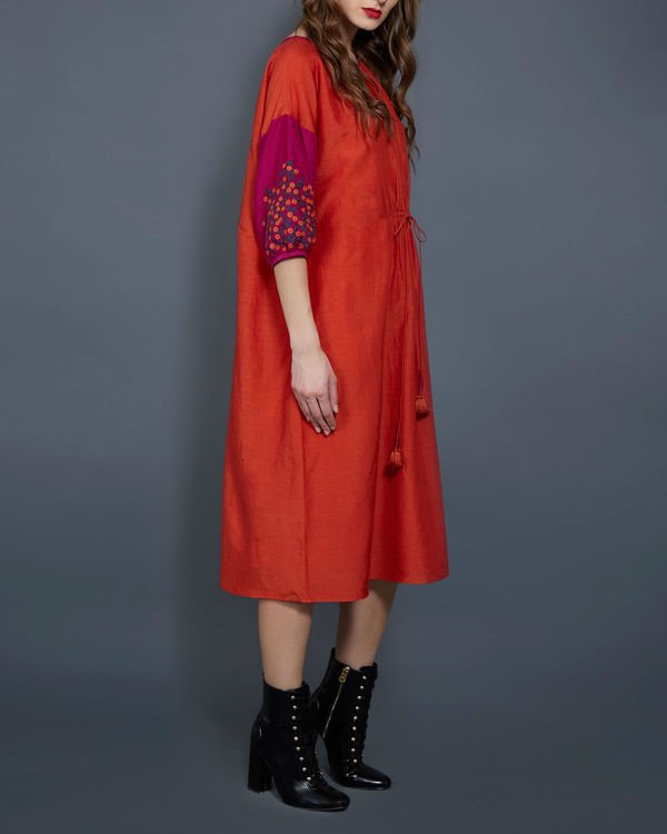 Orange tunic with contrast sleeves 1