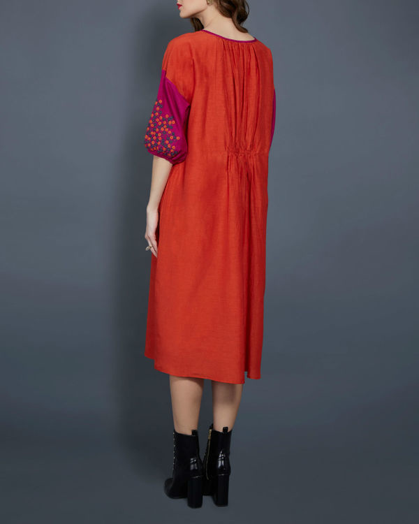 Orange tunic with contrast sleeves 2