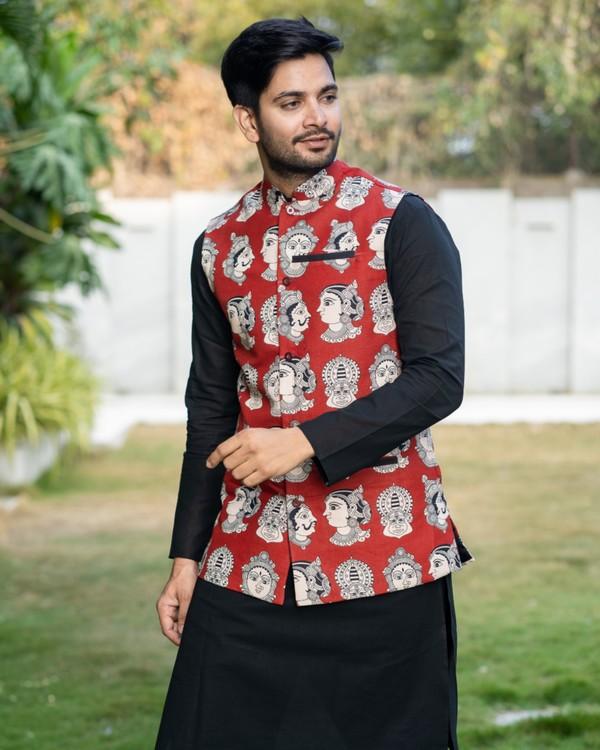 Black kurta and pyjama with red printed jacket set- set of three 1