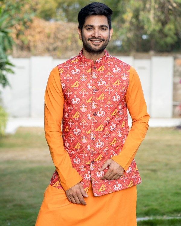 Yellowish orange kurta and pyjama with red printed jacket set- set of three 1