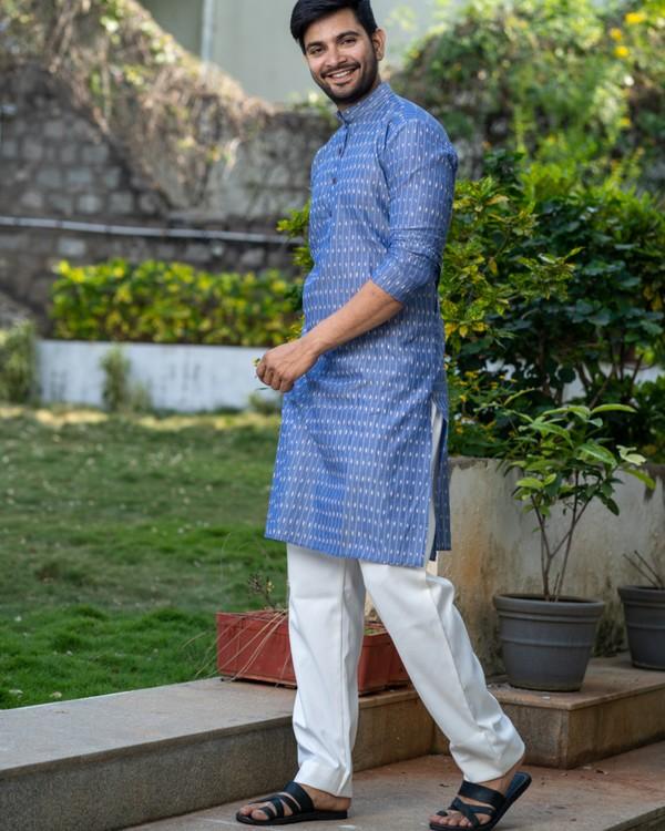 Blue printed kurta and pyjama set- set of two 2