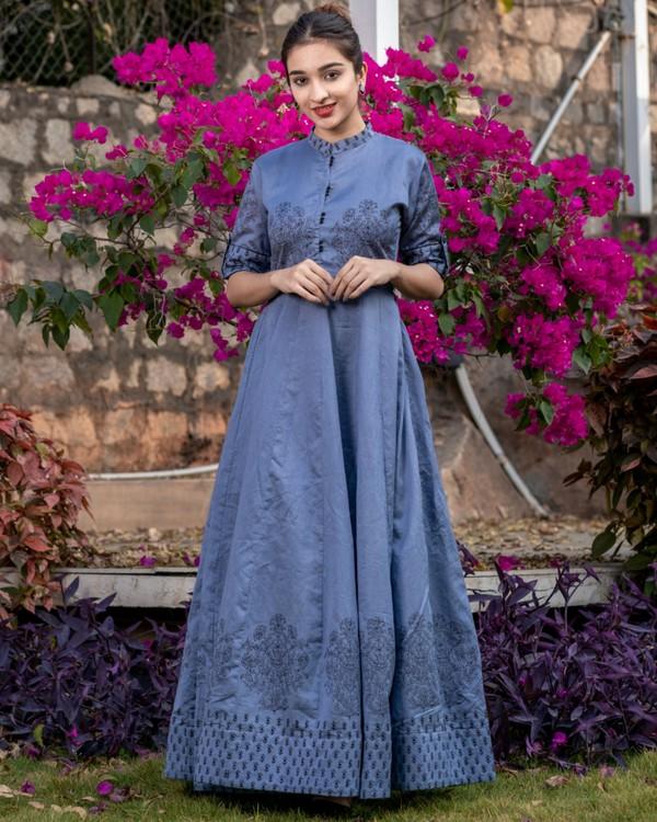 Pigeon blue floral printed kali dress 3