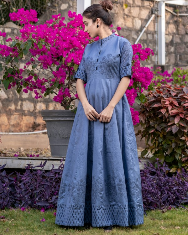 Pigeon blue floral printed kali dress 2