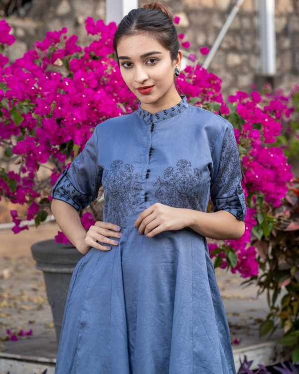 Pigeon blue floral printed kali dress 1