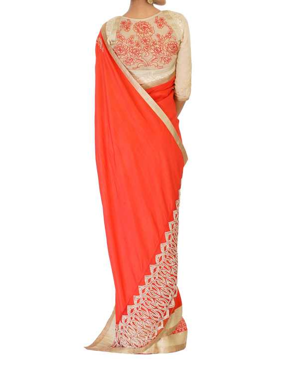 Embroidered coral sari 3