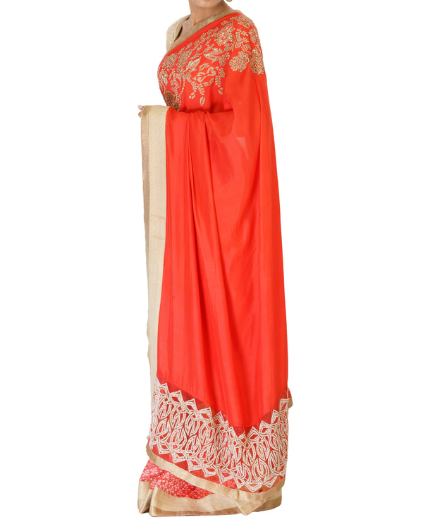 Embroidered coral sari 4