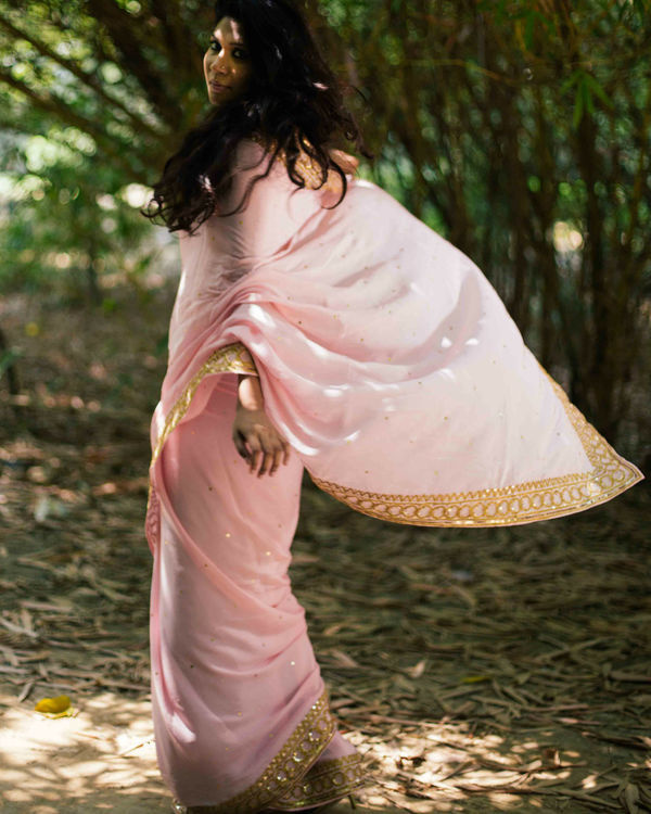 Powder pink pure crepe saree 1