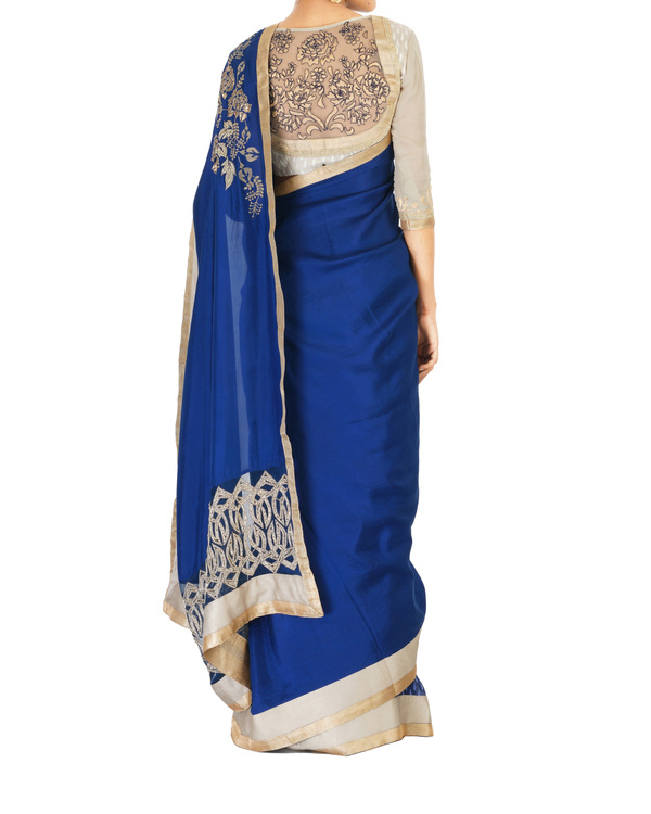 Embroidered navy blue sari 3