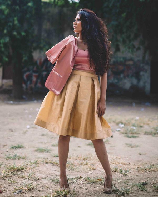 Gold brocade skirt with pink crop top 1