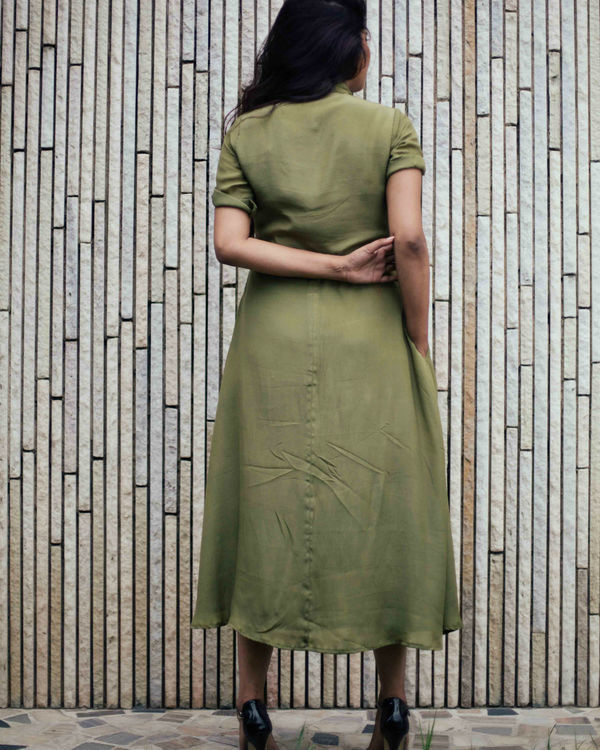 Military green crepe dress 1