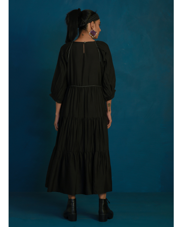 Black tiered maxi dress with stitch embroidery 2