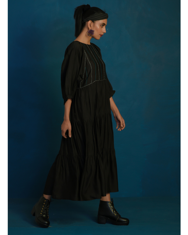 Black tiered maxi dress with stitch embroidery 1