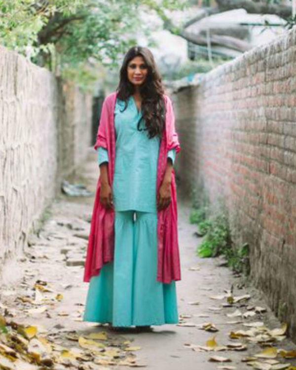 Turquoise blue cotton kurta and gharara set 1