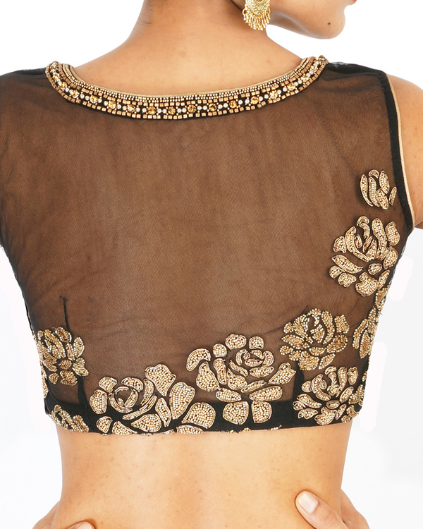 Ombre dyed blush and black rose embroidered sari 1