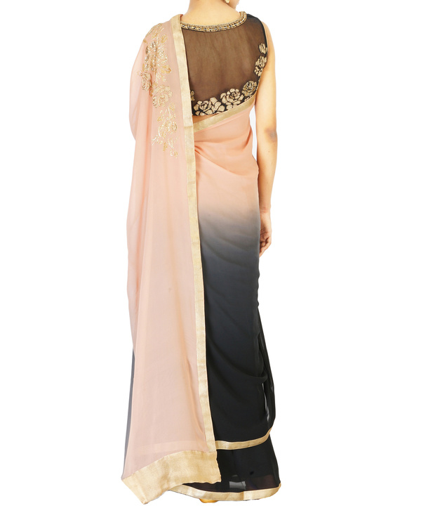 Ombre dyed blush and black rose embroidered sari 3