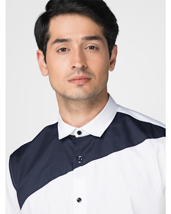 White and navy blue trigon paneled shirt 1