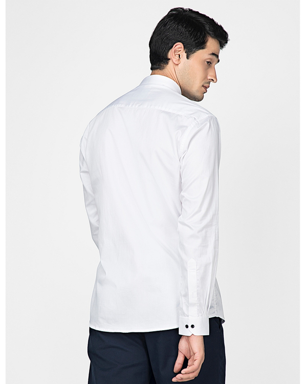 White and navy blue block paneled shirt 3