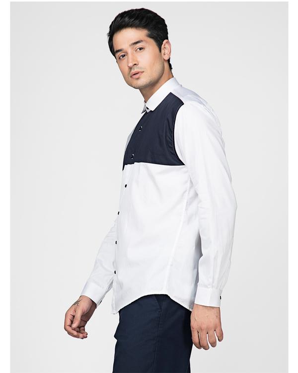 White and navy blue block paneled shirt 2