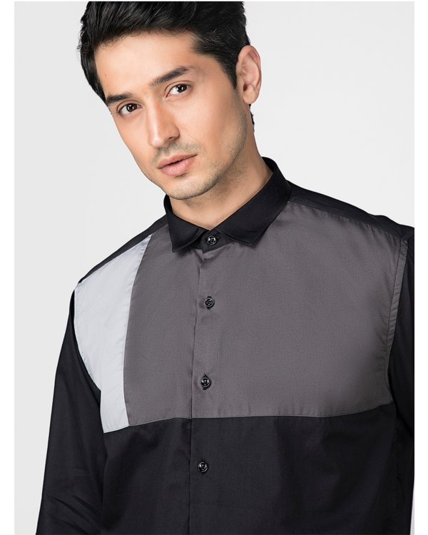 Black and grey block paneled shirt 1