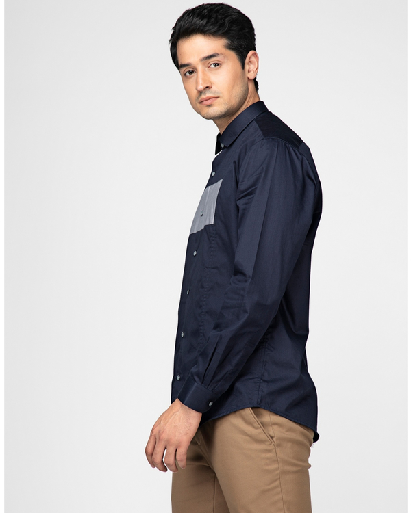 Navy blue and white rectangle paneled shirt 2