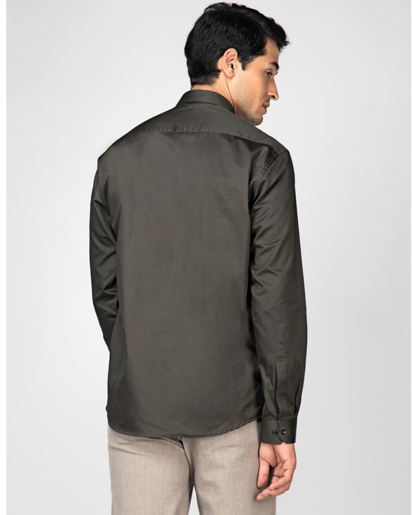 Olive rectangle paneled casual shirt 3