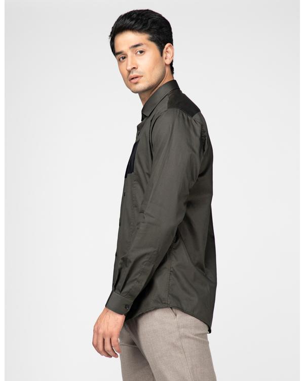 Olive rectangle paneled casual shirt 2
