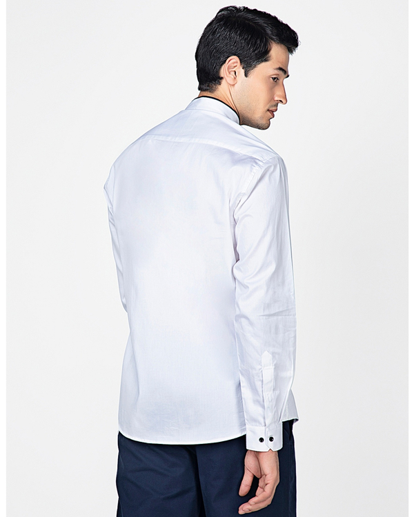 White ethnic shirt with contrast panel detailing 6