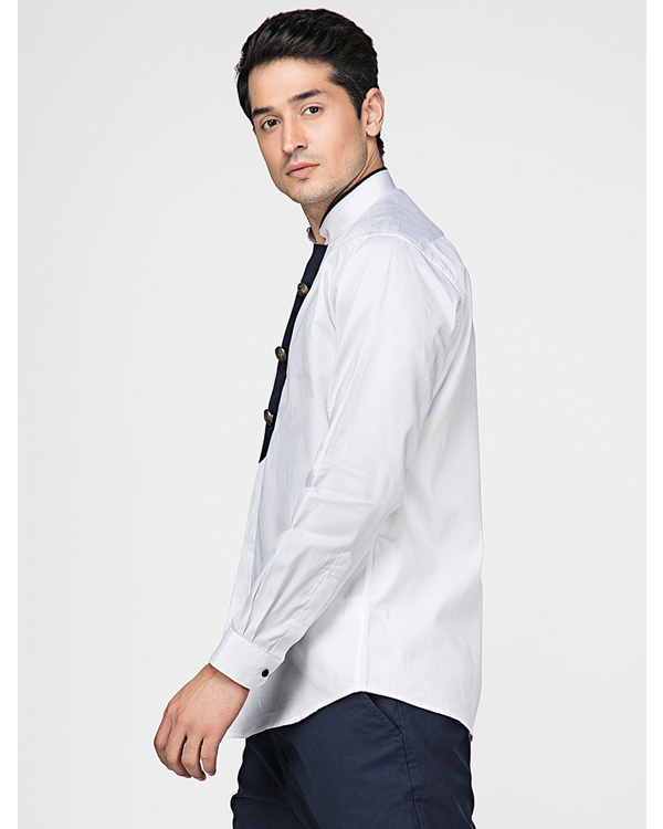 White ethnic shirt with contrast panel detailing 2
