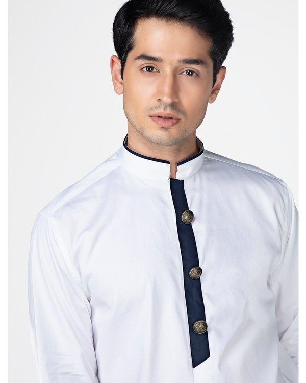 White ethnic shirt with contrast panel detailing 1