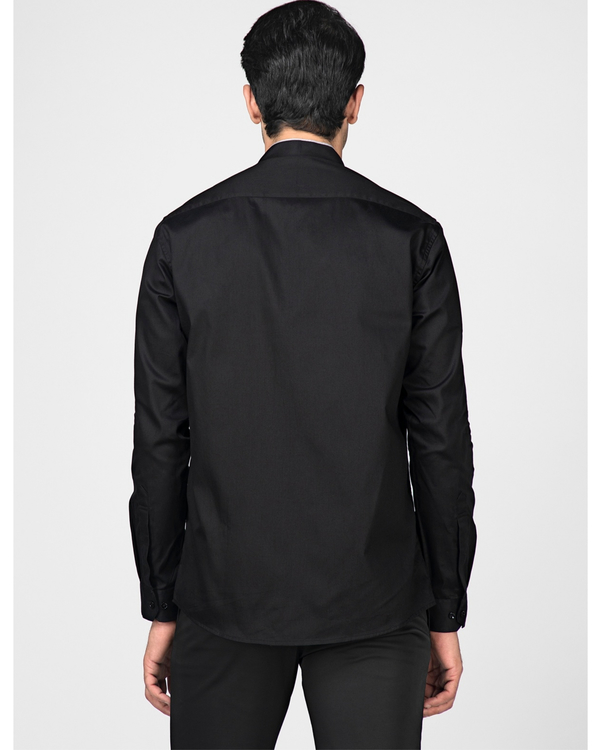 Black ethnic shirt with contrast panel detailing 3