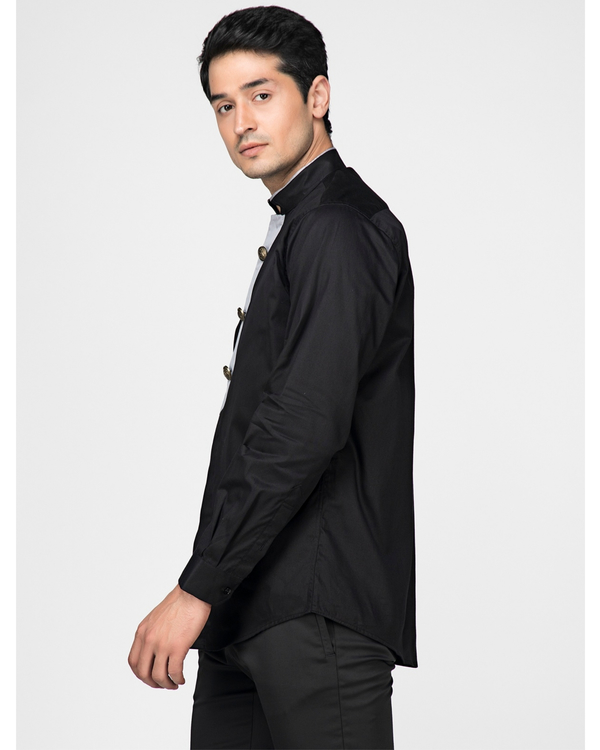 Black ethnic shirt with contrast panel detailing 2